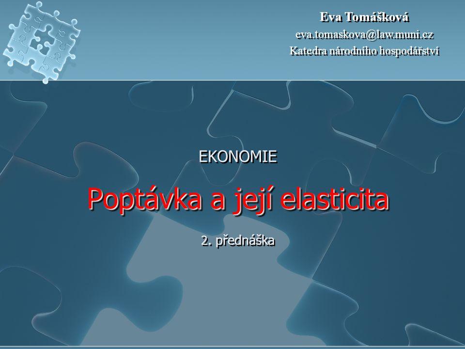 EKONOMIE Poptávka a její elasticita 2. přednáška