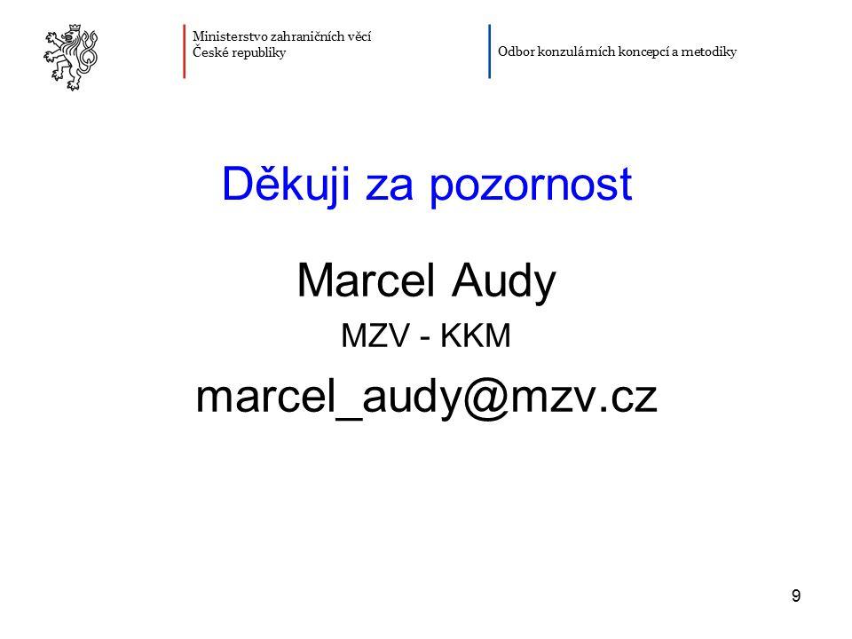 Děkuji za pozornost Marcel Audy marcel_audy@mzv.cz MZV - KKM