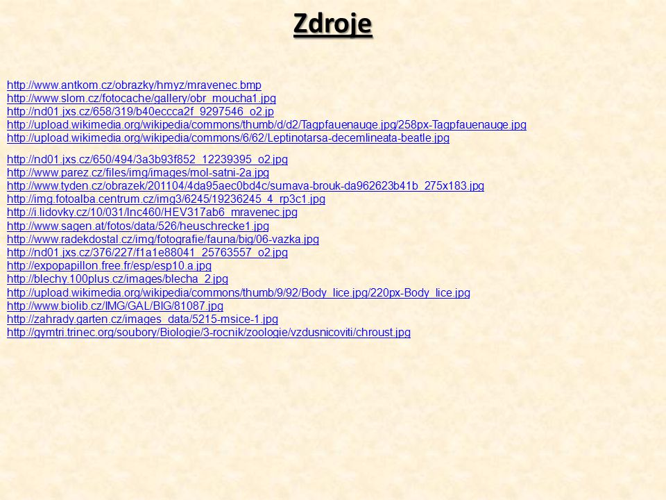 Zdroje http://www.antkom.cz/obrazky/hmyz/mravenec.bmp