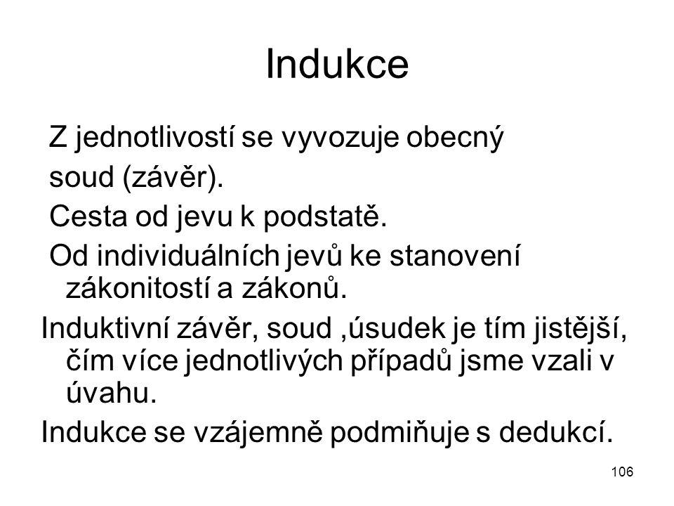 Indukce Z jednotlivostí se vyvozuje obecný soud (závěr).