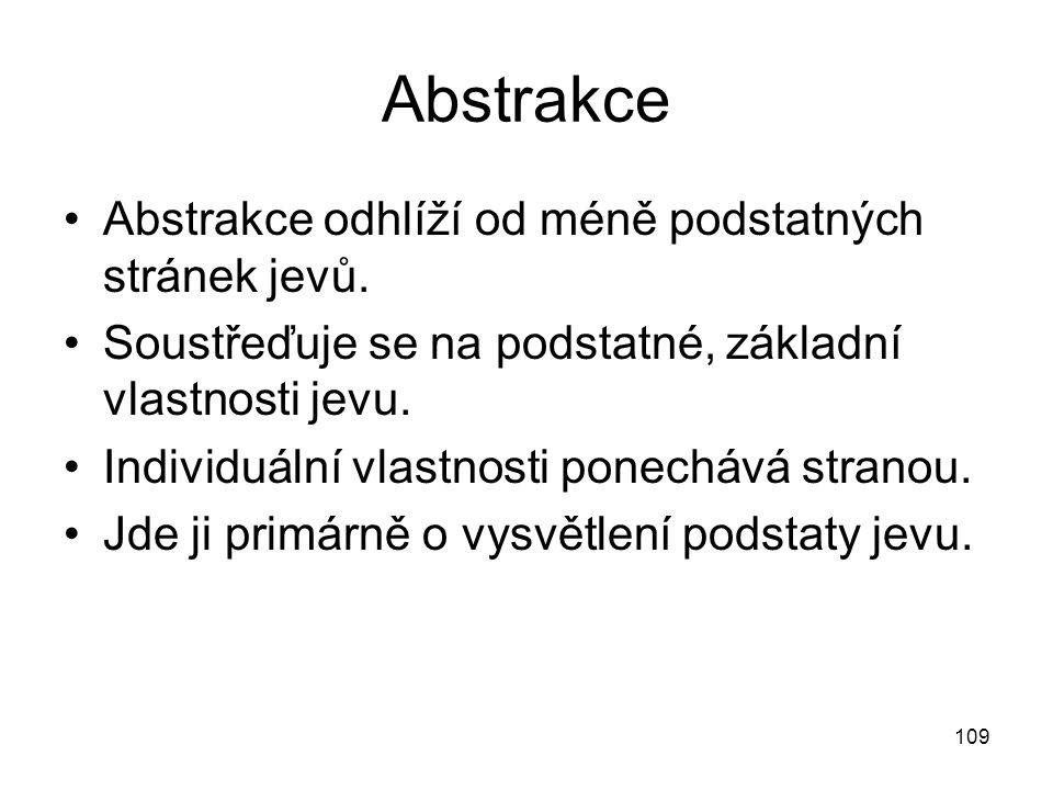 Abstrakce Abstrakce odhlíží od méně podstatných stránek jevů.