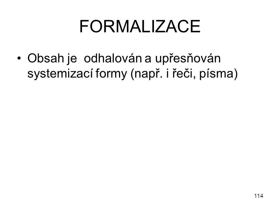 FORMALIZACE Obsah je odhalován a upřesňován systemizací formy (např. i řeči, písma)