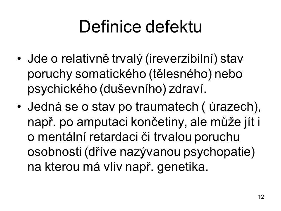 Definice defektu Jde o relativně trvalý (ireverzibilní) stav poruchy somatického (tělesného) nebo psychického (duševního) zdraví.