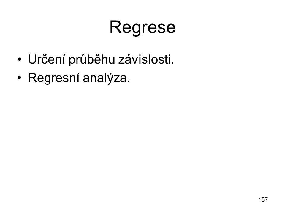 Regrese Určení průběhu závislosti. Regresní analýza.