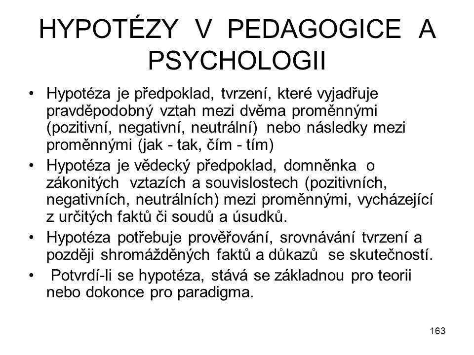 HYPOTÉZY V PEDAGOGICE A PSYCHOLOGII