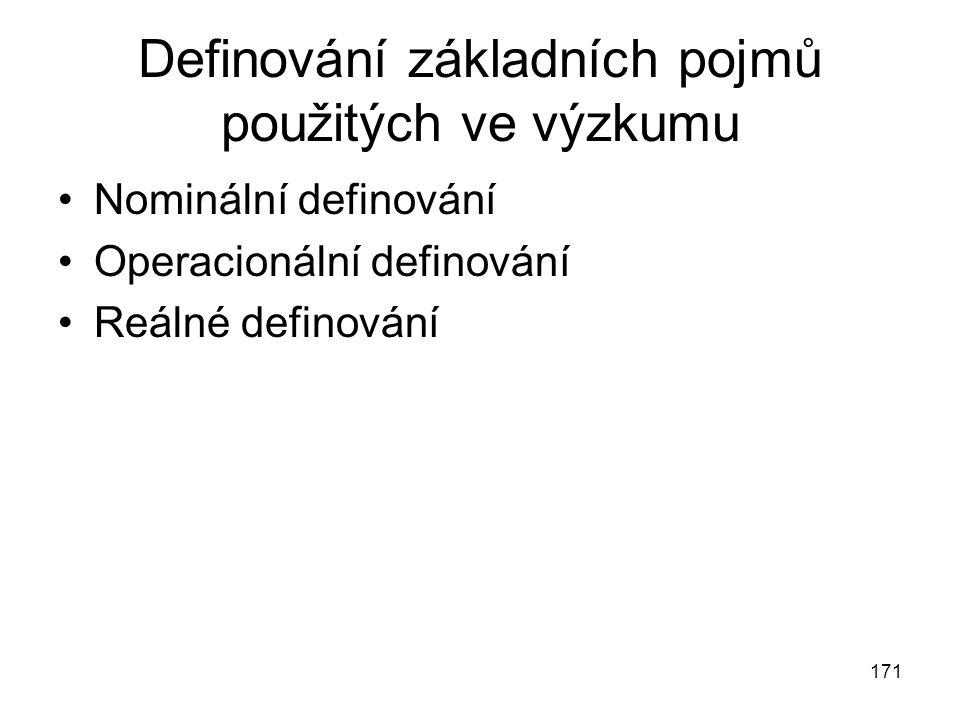 Definování základních pojmů použitých ve výzkumu