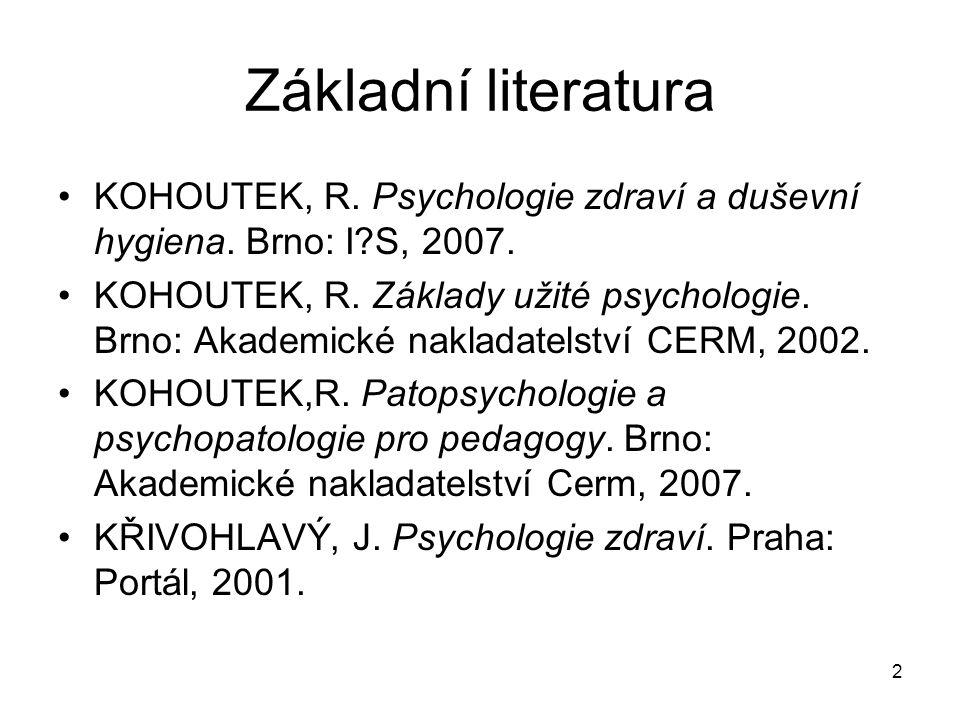Základní literatura KOHOUTEK, R. Psychologie zdraví a duševní hygiena. Brno: I S, 2007.