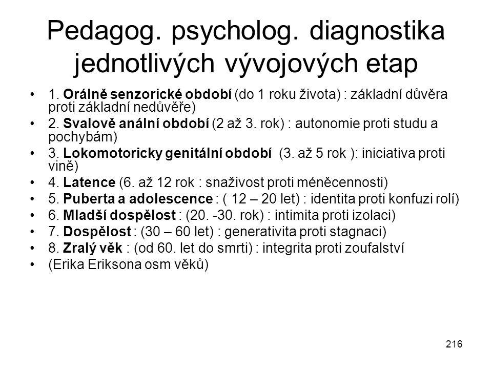 Pedagog. psycholog. diagnostika jednotlivých vývojových etap