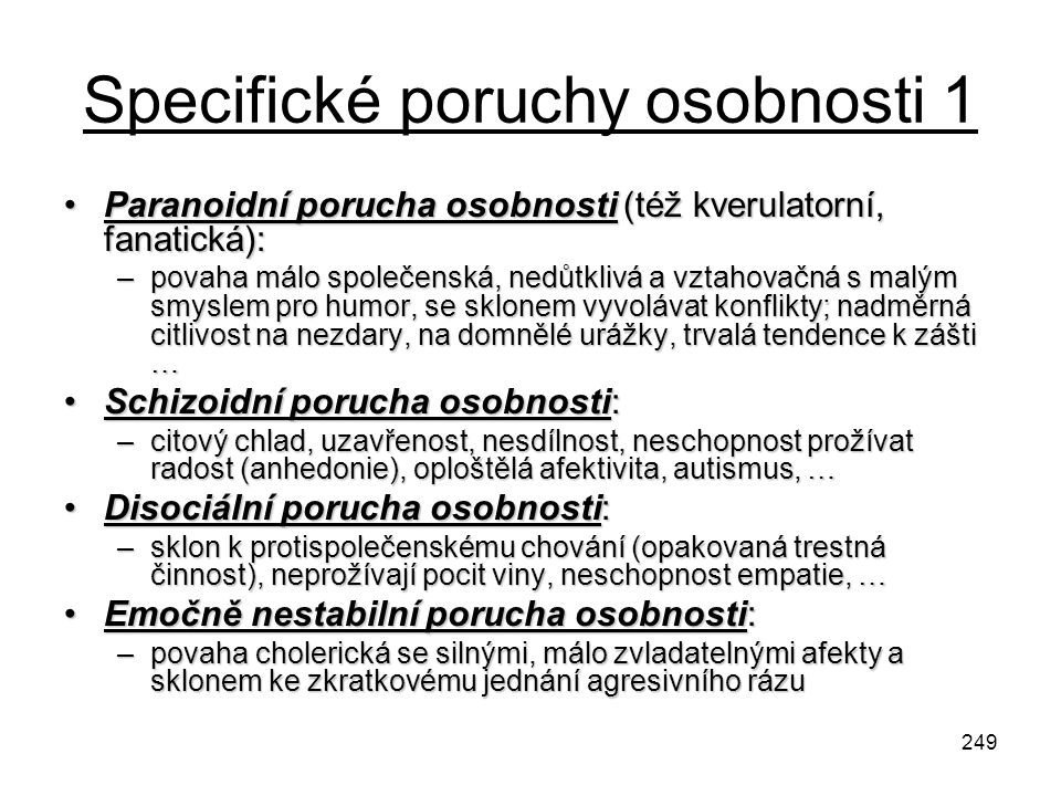 Specifické poruchy osobnosti 1