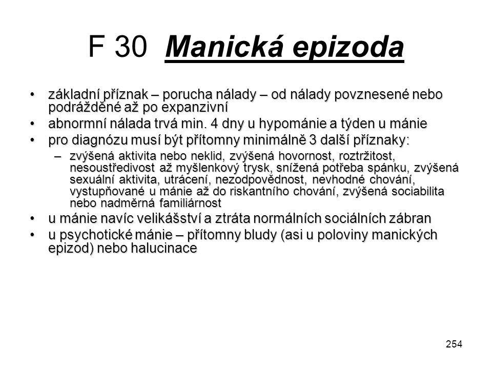 F 30 Manická epizoda základní příznak – porucha nálady – od nálady povznesené nebo podrážděné až po expanzivní.