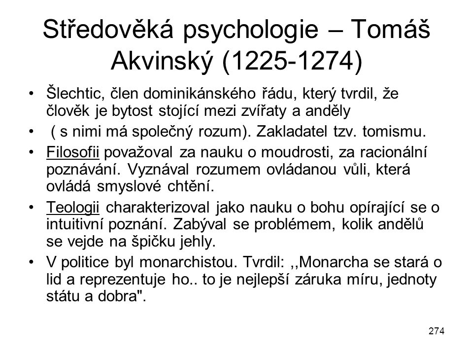 Středověká psychologie – Tomáš Akvinský (1225-1274)