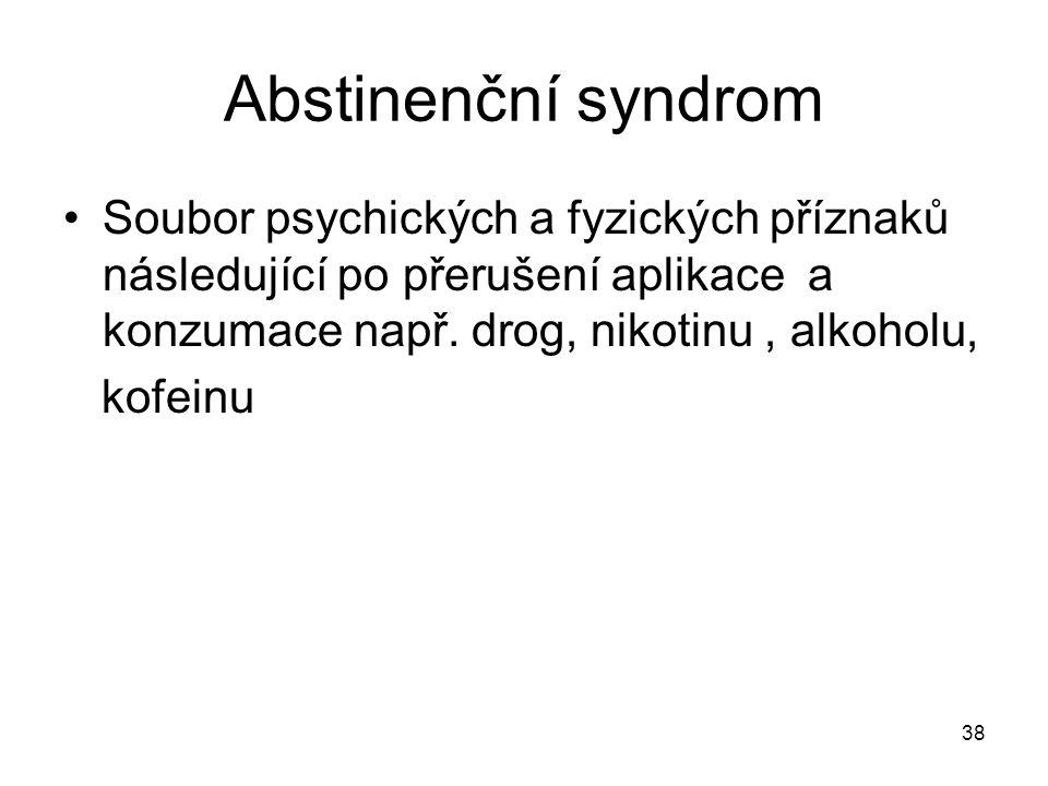 Abstinenční syndrom Soubor psychických a fyzických příznaků následující po přerušení aplikace a konzumace např. drog, nikotinu , alkoholu,