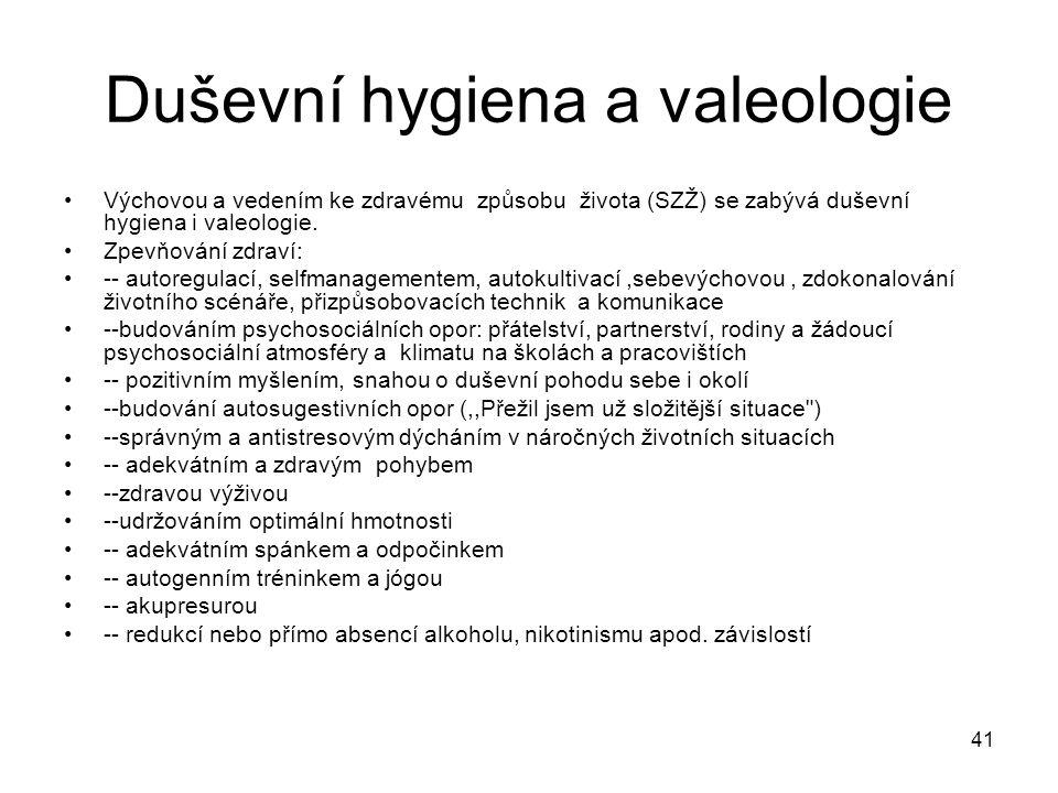 Duševní hygiena a valeologie