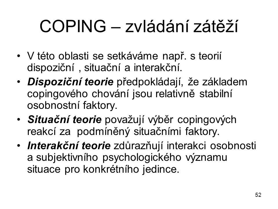 COPING – zvládání zátěží
