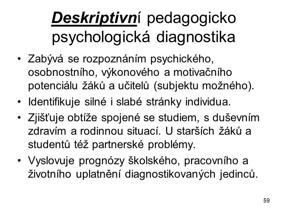 Deskriptivní pedagogicko psychologická diagnostika