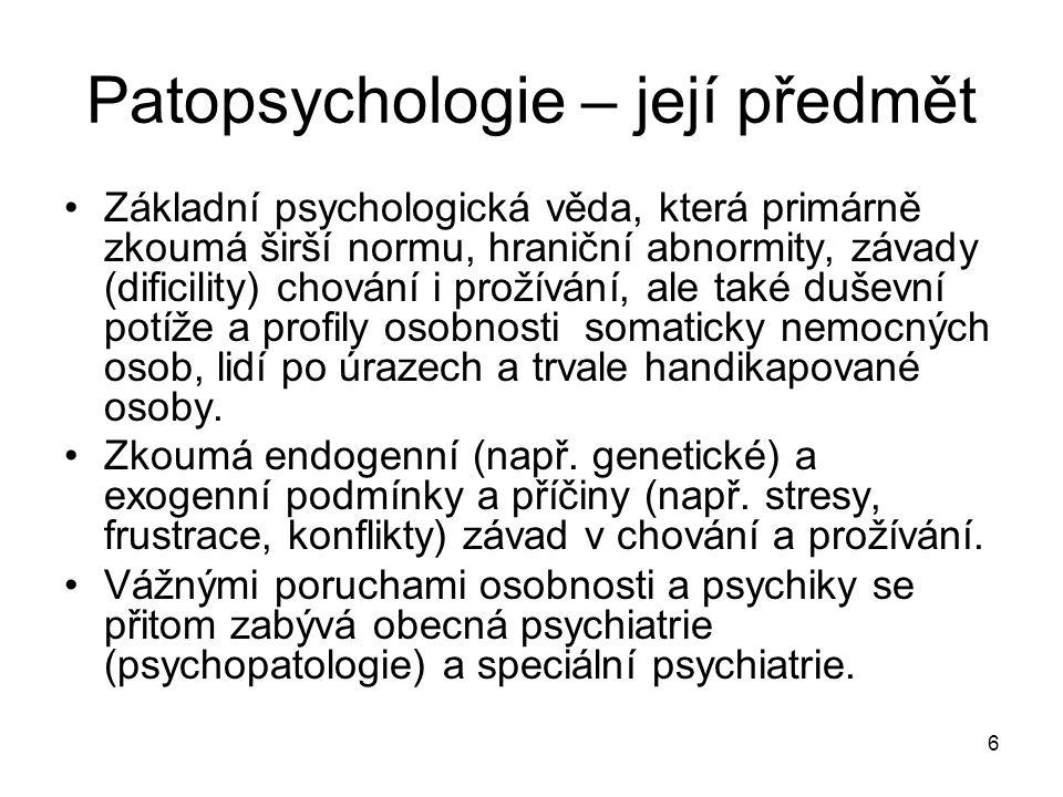 Patopsychologie – její předmět