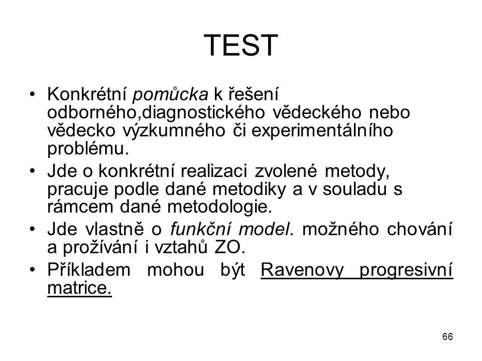 TEST Konkrétní pomůcka k řešení odborného,diagnostického vědeckého nebo vědecko výzkumného či experimentálního problému.