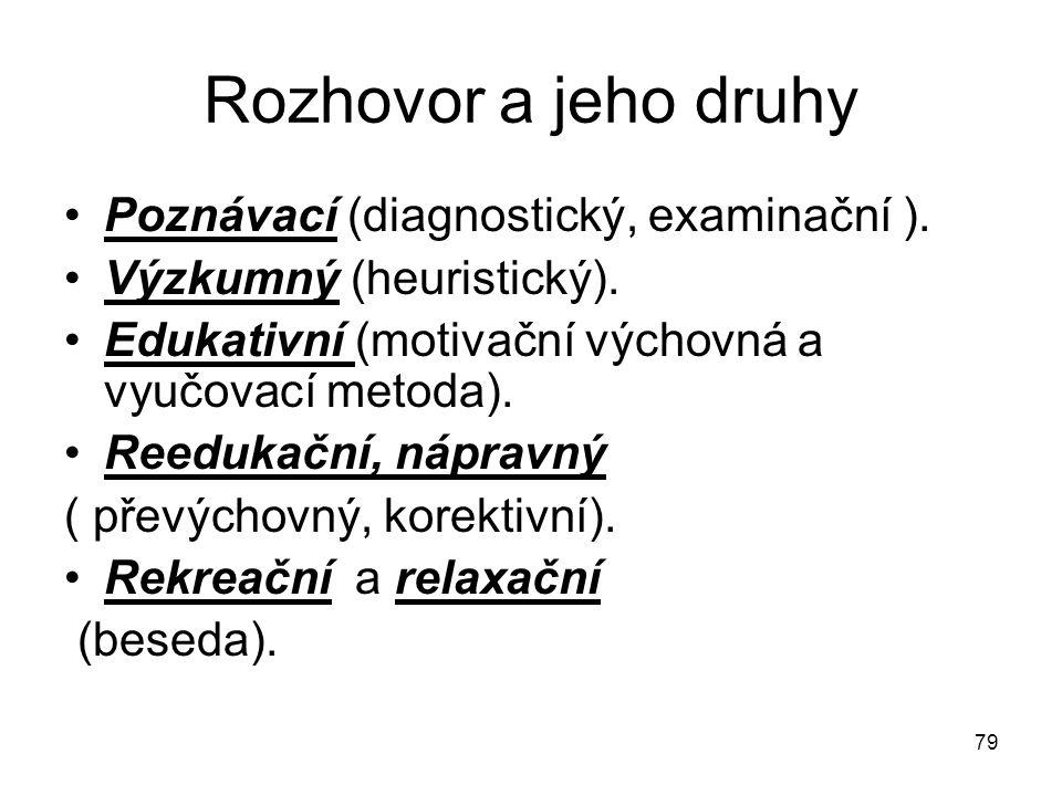 Rozhovor a jeho druhy Poznávací (diagnostický, examinační ).