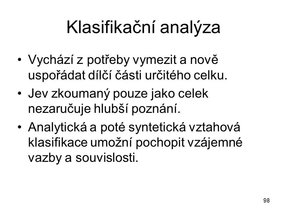 Klasifikační analýza Vychází z potřeby vymezit a nově uspořádat dílčí části určitého celku. Jev zkoumaný pouze jako celek nezaručuje hlubší poznání.