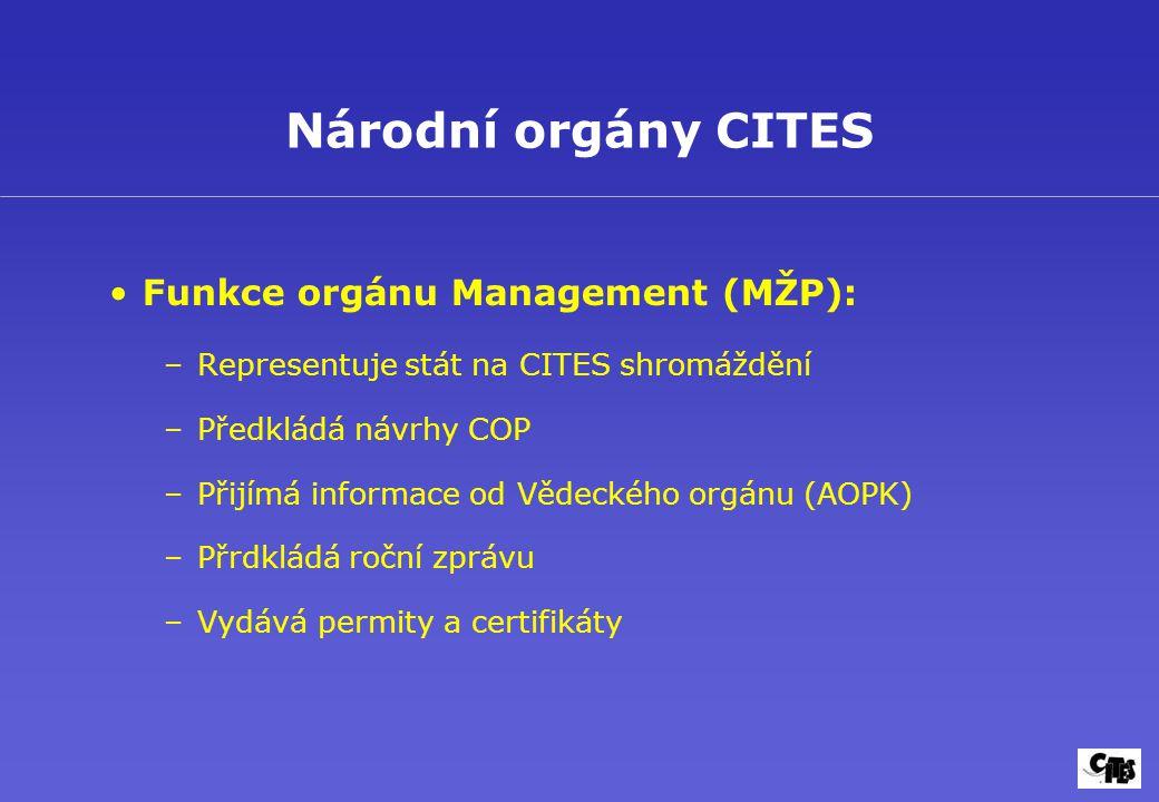 Národní orgány CITES Funkce orgánu Management (MŽP):