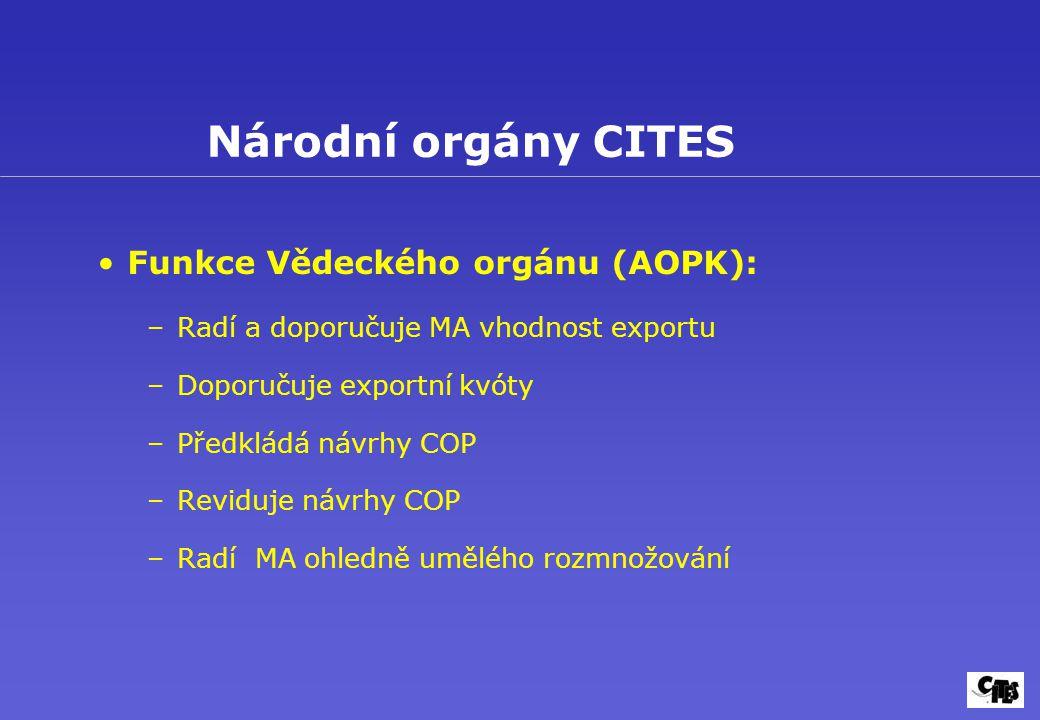 Národní orgány CITES Funkce Vědeckého orgánu (AOPK):