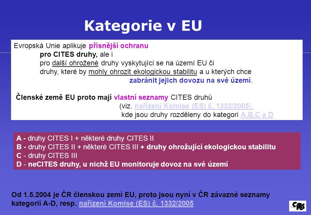Kategorie v EU Evropská Unie aplikuje přísnější ochranu