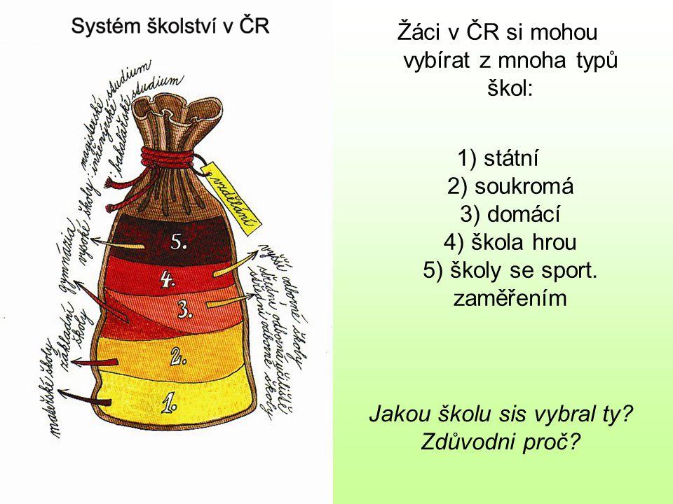 Žáci v ČR si mohou vybírat z mnoha typů škol: