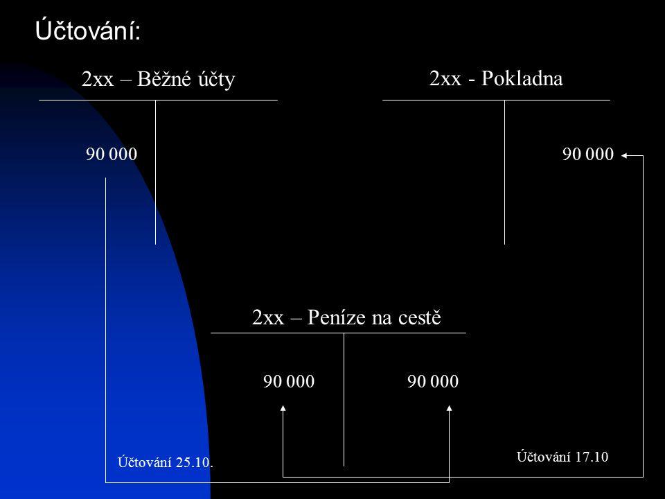 Účtování: 2xx – Běžné účty 2xx - Pokladna 2xx – Peníze na cestě 90 000