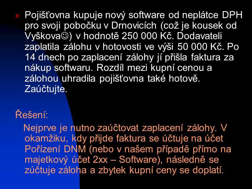 Pojišťovna kupuje nový software od neplátce DPH pro svoji pobočku v Drnovicích (což je kousek od Vyškova) v hodnotě 250 000 Kč. Dodavateli zaplatila zálohu v hotovosti ve výši 50 000 Kč. Po 14 dnech po zaplacení zálohy jí přišla faktura za nákup softwaru. Rozdíl mezi kupní cenou a zálohou uhradila pojišťovna také hotově. Zaúčtujte.