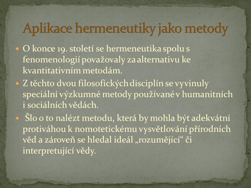 Aplikace hermeneutiky jako metody