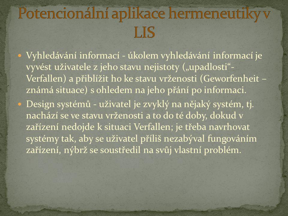 Potencionální aplikace hermeneutiky v LIS