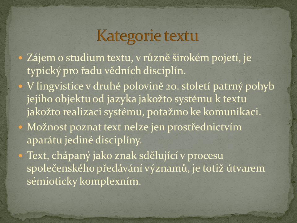 Kategorie textu Zájem o studium textu, v různě širokém pojetí, je typický pro řadu vědních disciplín.