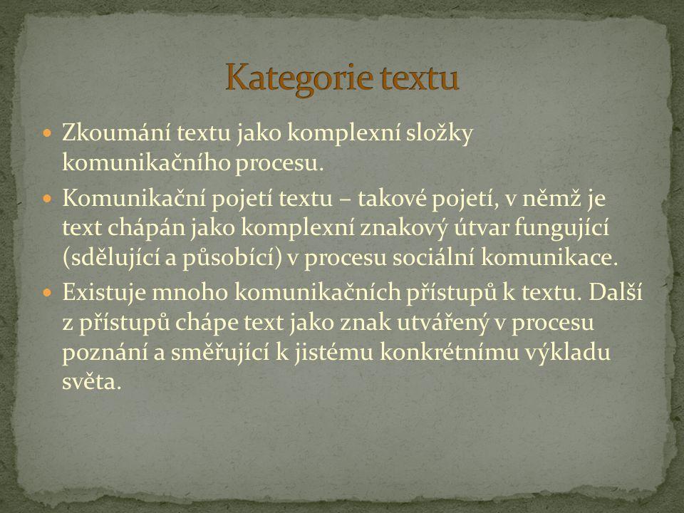 Kategorie textu Zkoumání textu jako komplexní složky komunikačního procesu.