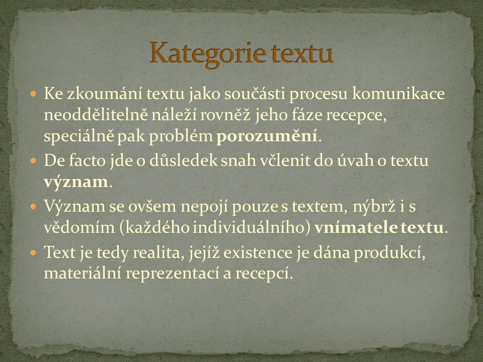 Kategorie textu Ke zkoumání textu jako součásti procesu komunikace neoddělitelně náleží rovněž jeho fáze recepce, speciálně pak problém porozumění.
