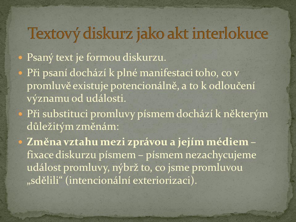 Textový diskurz jako akt interlokuce