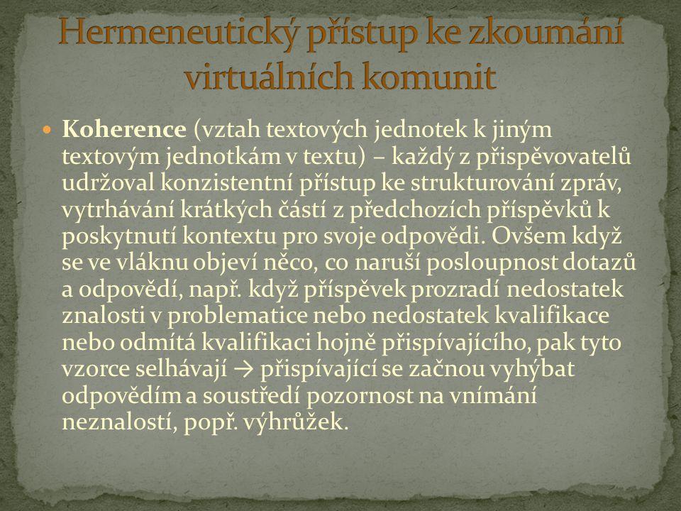 Hermeneutický přístup ke zkoumání virtuálních komunit