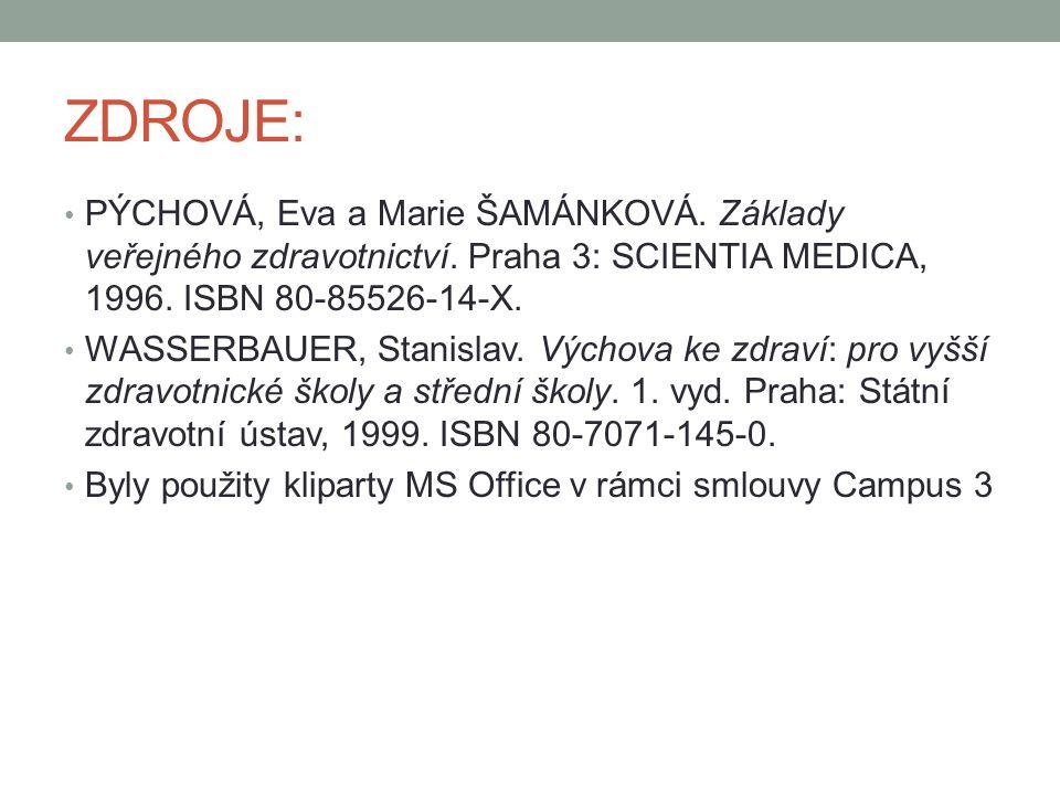 ZDROJE: PÝCHOVÁ, Eva a Marie ŠAMÁNKOVÁ. Základy veřejného zdravotnictví. Praha 3: SCIENTIA MEDICA, 1996. ISBN 80-85526-14-X.