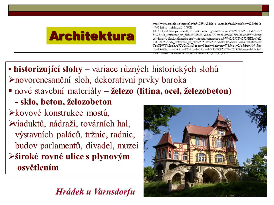 Architektura novorenesanční sloh, dekorativní prvky baroka