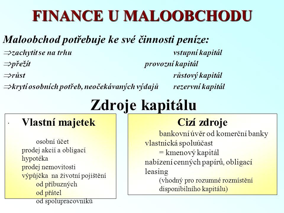 FINANCE U MALOOBCHODU Maloobchod potřebuje ke své činnosti peníze: