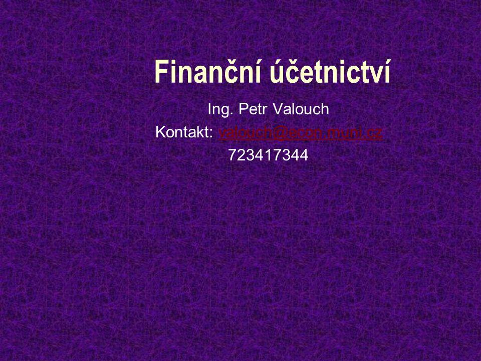 Ing. Petr Valouch Kontakt: valouch@econ.muni.cz 723417344