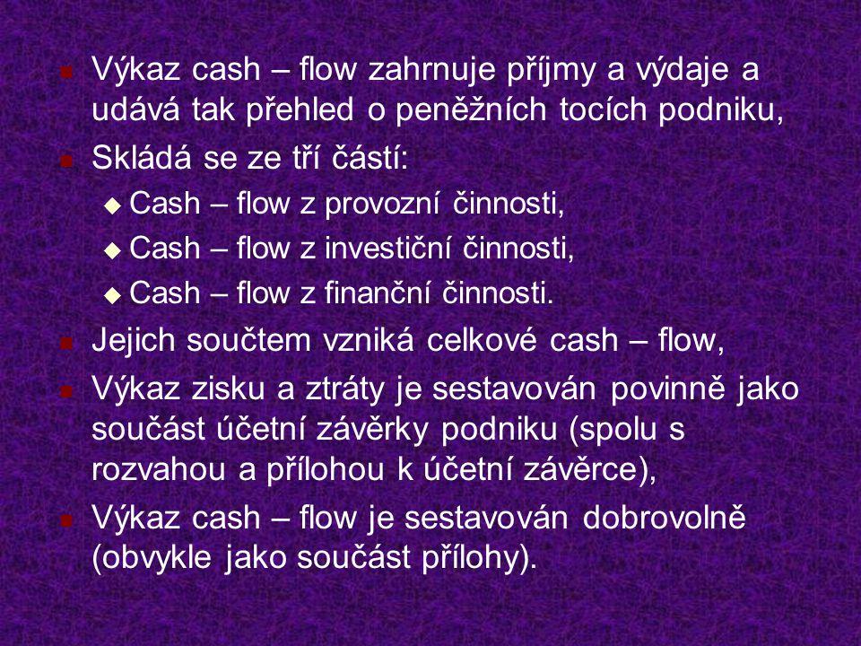 Jejich součtem vzniká celkové cash – flow,