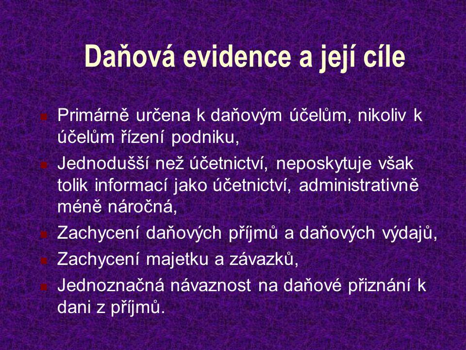 Daňová evidence a její cíle