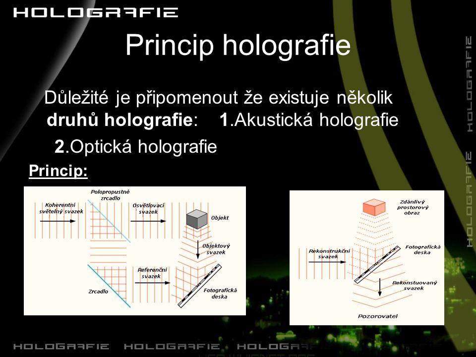 Princip holografie Důležité je připomenout že existuje několik druhů holografie: 1.Akustická holografie.