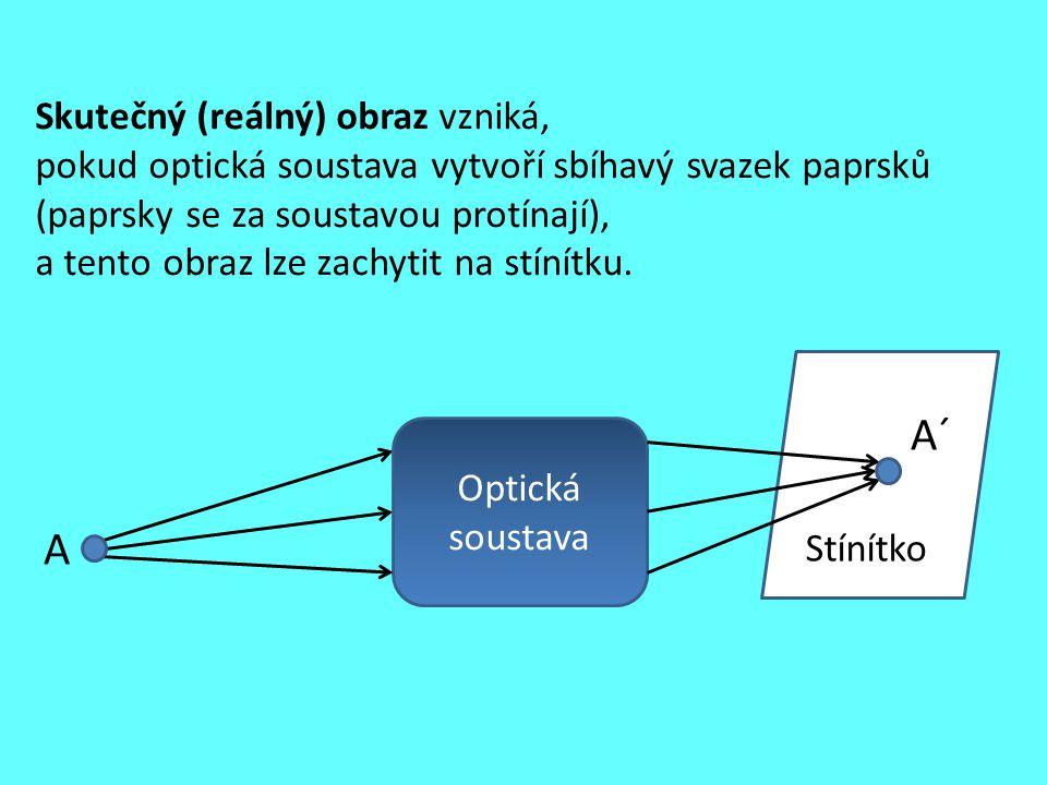 Skutečný (reálný) obraz vzniká, pokud optická soustava vytvoří sbíhavý svazek paprsků (paprsky se za soustavou protínají), a tento obraz lze zachytit na stínítku.