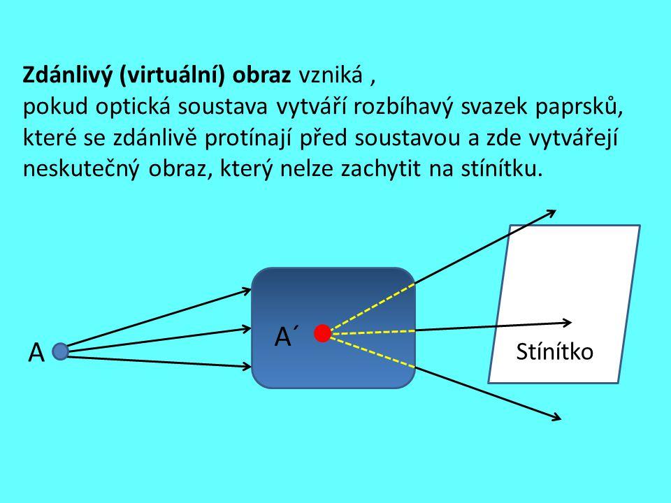 Zdánlivý (virtuální) obraz vzniká , pokud optická soustava vytváří rozbíhavý svazek paprsků, které se zdánlivě protínají před soustavou a zde vytvářejí neskutečný obraz, který nelze zachytit na stínítku.