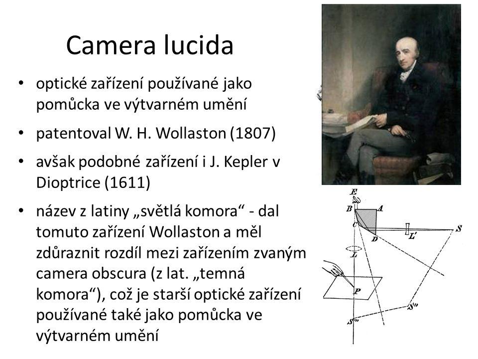 Camera lucida optické zařízení používané jako pomůcka ve výtvarném umění. patentoval W. H. Wollaston (1807)