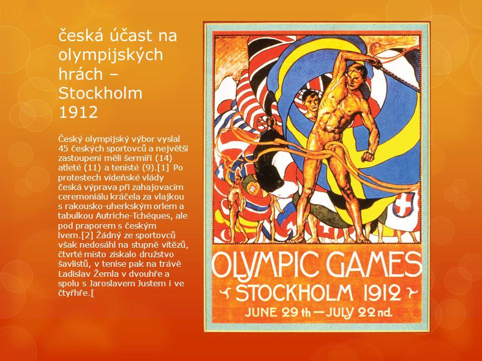 česká účast na olympijských hrách – Stockholm 1912