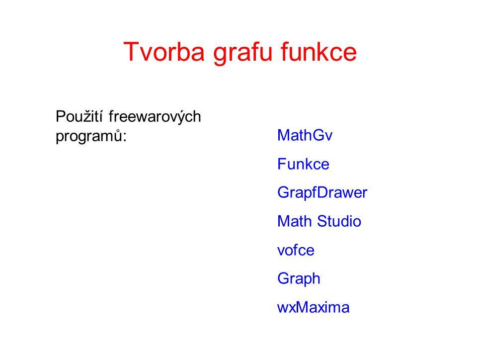 Tvorba grafu funkce Použití freewarových programů: MathGv Funkce