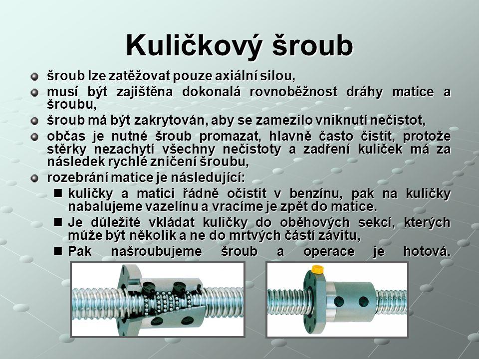 Kuličkový šroub šroub lze zatěžovat pouze axiální silou,