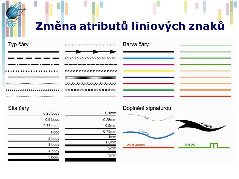 Změna atributů liniových znaků